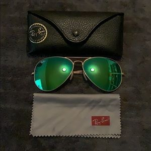 Green Flash Ray Ban aviators large 62